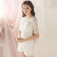 Spring 2014 Original Design Lace Embroidery Stitching Chiffon Jumpsuit Short Pants W23061