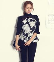 B54 2014 New Celebrity Style Women Floral Print Flared Peplum Top Chiffon Lace Blouse Ruffles Shirt Plus Size Free shipping