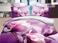 purple Yulan magnolia flower Economic 3D reactive printed cotton/polyester 4pcs comforter/duvet/bedding set/B2280 Air shipping