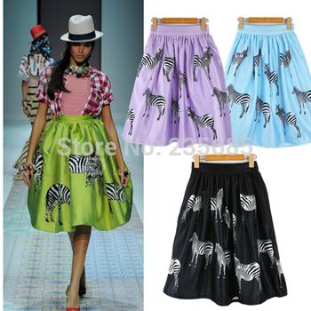 Spring Summer 2014 Saias Skirts Модный Brand Animal Zebra Print High Талия Ball Gown ...