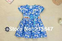 2014 Fashion Kid's Dresses Cute Print Little Girls Dress Summer Baby Girl Dress Girl Retail Infant Dress Baby Clothing For Girl