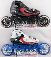 Korean STS handmade inline skating shoes red and black roller skates with powerslide speed skate wheels