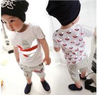 100-140,baby boys suit kids children 2 pc set short sleeve t shirt + pants girls set 0217 sylvia