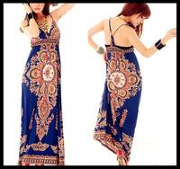 2014 summer new bohemian beach dress milk silk suspenders totem printing waist dress women dress