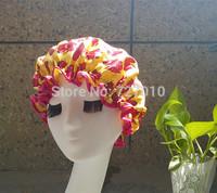 Wholesale bowknot Satin &EVA double layer waterproof shower caps  Not a one-off  hair  cap 20pcs/lot  MIX COLOR bathing cap