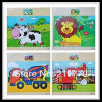 5pcs/lot 15*17cm Kids Wooden Jigsaw puzzle cartoon brain teaser 12pcs Animals Construction Truck Educational Toys for baby