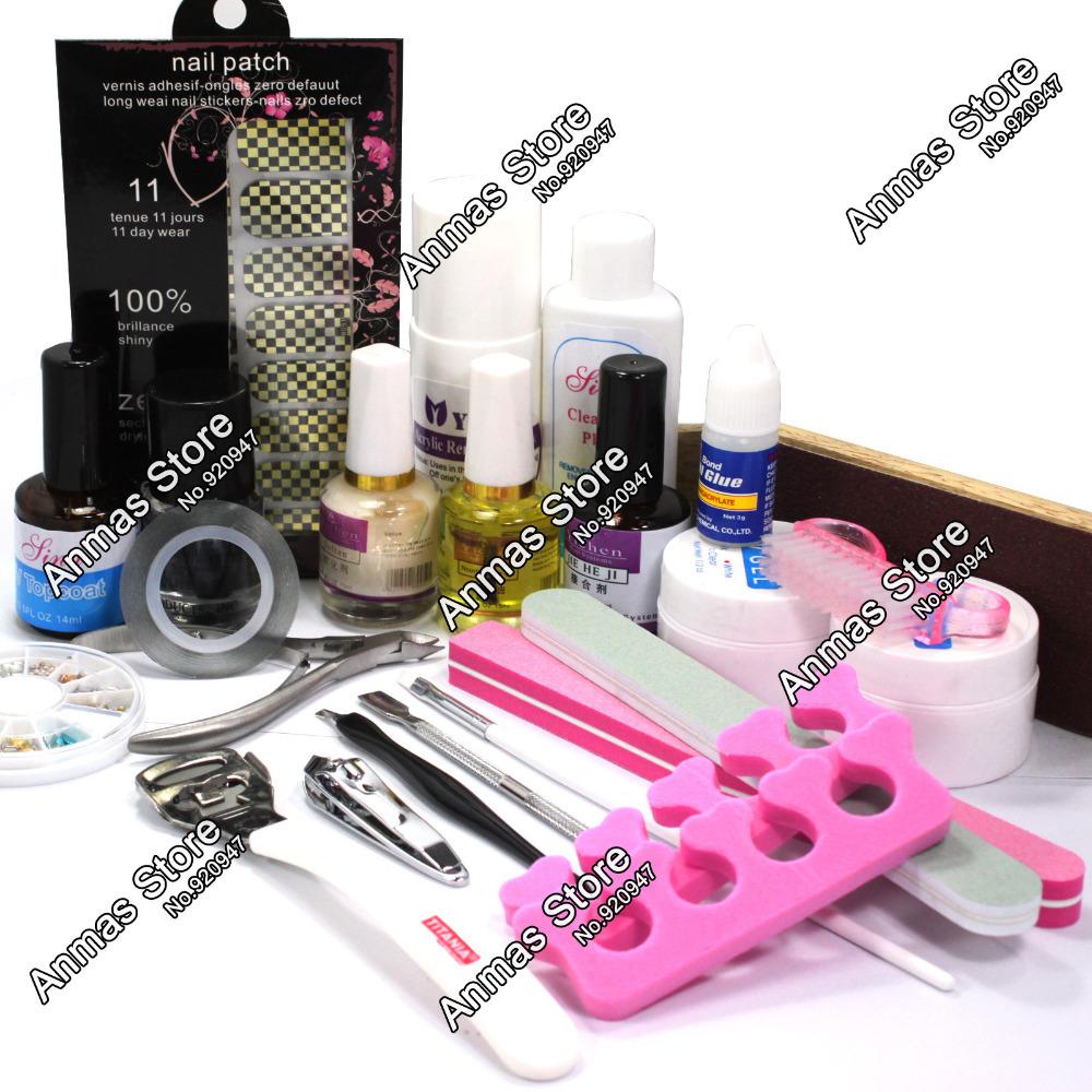 Pro Nail Art Foils Sticker UV Gel Top Coat Oil Kits Pedicure Tools Acrylic Sets #31set(China (Mainland))