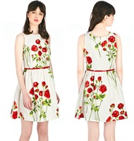 2014 fashion summer new arrival Brazil girl floral White roses printed,slim,belted waist dress,plus size,free shipping