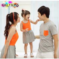 2014 summer new children clothes brand fashion cotton dresses / t shirt beachwear Family , for girl / boy / mom / dad