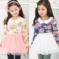 Fall 2013 new explosion models Korean Floral cute children dress lapel flower girls princess dress gauze
