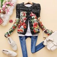 NEW Korean style 2014 Jackets Women winter Crewneck O-Neck Print Bow Design Short Cotton-Padded Jacket Outerwear