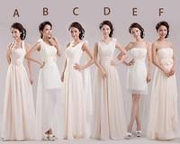 Long Cheap chiffon champagne bridesmaid dresses 2014 bridesmaids dress maid of honor under  $50