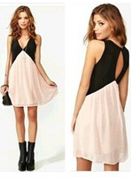 Spring 2014 casual dress women dress new women back hollow deep V -neck sexy dress party dresses vestidos women clothing