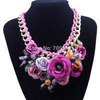 2014 Spring New Design Multicolor Metal Flower Rhinestones Crystal Bib Necklaces & Pendant Luxury Statement Necklace Jewelry