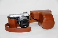 Brown Leather Camera Case Bag For  Lumix DMC-GX7 GX7 (14-42mm)