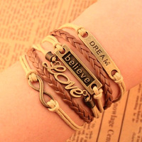 2014 New Design Europe Fashion vintage Charm Elegant believe dream love Infinity cross Multilayer Leather Bracelet wholesalePT36