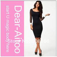 DHL Free Shipping 10pcs/Lot 2014 Women Elegant Knee-length Sheath Party Dress Black White Patchwork 4130