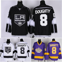 Cheap Wholesale la Los Angeles Kings #8 Drew Doughty Jersey Ice Hockey Jersey home black white purple Free Shipping