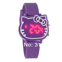New Arrive Items Cute pink Hello kitty Led Digital Watch For Women / Girls Fashion Wrist Watch Hours Best Gift 2pcs/lot