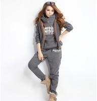 Whole sale high quality  autumn lady clothing set  solid print letters  casual M- XXXL 4 colors three pieces  sport suit
