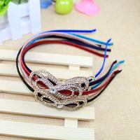 New 2014 arrival wholesale 6 pieces/lot fashion women hair bow crystal headbands girls rhinestone hairband Korea accessories