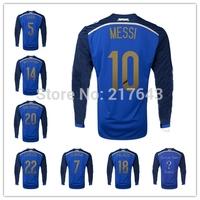 HOT Argentina 2014 World Cup away Long Sleeve Jersey DI MARIA HIGUAIN KUN AGUERO LAMELA LAVEZZI MESSI TEVEZ Soccer Uniforms