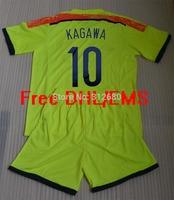 Free DHL/EMS 2014 KAGAWA HONDA  light green high quality soccer jersey uniforms (jerseys + shorts) + can custom names