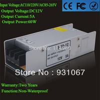 Supernova Sale led Driver 12V 5A Transformer 60W Power Variable Voltage 110/220V For Strip Or Module Lamp Free Shipping 1pcs/lot