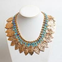 Bohemia Style Big Fashion Jewelry  Lint Wrap Knit Red Rhinestones Chain Gold Leaves Statement Choker Necklace KK-SC462