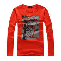 2014 Slim Korean Cotton Men's Long-sleeved  T-shirts Stitching Trees Pattern Print T-shirt 4 Colors 3 Sizes Free Shipping