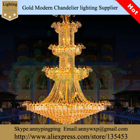 Hot selling Diameter  119-Inches K9 Gold Crystal Balls Chandelier Light Fixtures For Hotel Hall used Free Shippin9