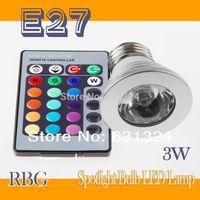 10sets/lot 3W RGB LED Bulbs E27  RGB Spotlight bulb +24Key IR Remote Control HK Post free shipping