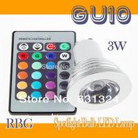10sets/lot 3W RGB LED Bulbs GU10 85~265V RGB Spotlight bulb +24Key IR Remote Control HK post free shipping