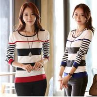 2014 Women Slim round neck striped pullover sweater primer shirt sweater coat
