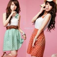 5Pcs/lot New Korean Women's Fashion Style Polka Dot Dress Sweet Lovely Mini Dress Orange/Green Lace Top free shipping 3607