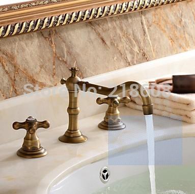 Antique Bronze Bathroom Faucets Basin Mixer Double Handle Bathroom 3 Hole Sink Mixer Taps(China (Mainland))