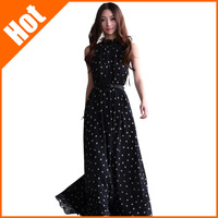 women new 2014 summer Fashion dot chiffon sleeveless dress polka dot  plus size bohemia maxi long  beach dress with belt