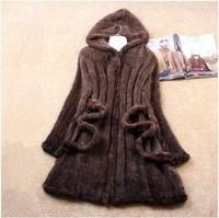 2014 Winter Ladies Genuine Natural Knitted Mink Fur Coat Jacket Women Fur Trench Overcoat Hoody Outerwear Coats Plus Size VK1369
