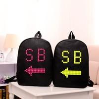 2014 New Style Free Shipping SB Bag spring paragraph PU print preppy style sb school bag school bag lovers school backpack