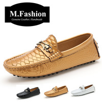 British Style Men leather Loafer Slip On Boat Shoes For Men Casual Driving Shoes Handmade leather flats Men Soft Moccasin Gold