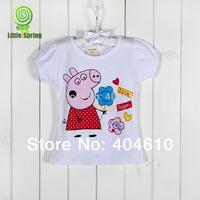 IN Stock !  Summer children girl's T-shirt cartoon Peppa pig short sleeve cotton tops ELZ-S0273