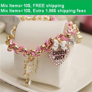Hello Kitty MIX 10$ B3303 female fashion accessories bow flower heart Bracelet poker leather cord bracelet(China (Mainland))