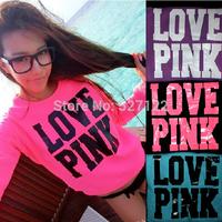 European Style Brand Women Sweatshirts and Pullovers Loose Print Hoodie Casual Fluorescent Pink LOVE PINK Long-sleeve Sweatshirt