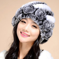 14602 NEW Knitted Real REX rabbit fur hat top quality beanie hat with flower decoration headgear headdress head warmer