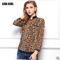Fashion Leopard Printed roupas femininas Chiffon Shirts Women Sexy Blouse See-through Tops Shirt plus size blusas femininas 2014