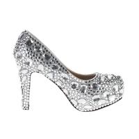 New woman platforms silver rhinestone platform pumps prom heels wedding shoes women high heels crystal high heel shoes