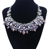 New jewelry 2014 Fashion White Crystal Flower Statement Chokers Necklace for gilrs Factory price free shipping