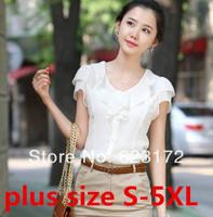 plus size new spring 2014 chiffon blouse women blouses shirts clothing lace tops  fashion ruffles qly01
