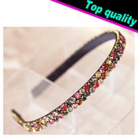 2014 New Hot Sale Korean Fashion Colorful Rhinestone Crystal Hairbands Headbands For Women Hair Accessory Glitter Hair Jewelry