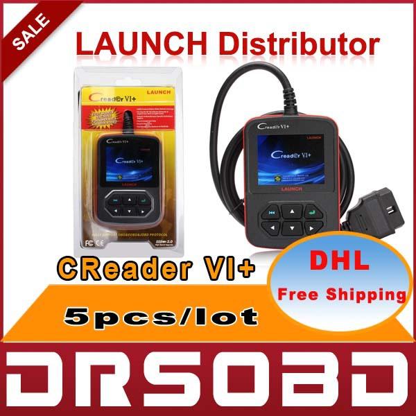 [5pcs/lot] 2015 New Auto Code Reader Launch CReader VI+ Support JOBD / OBD2 100% Original CReader VI Plus version free shipping(China (Mainland))